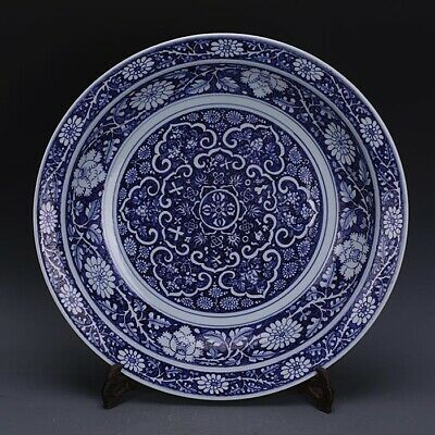 """Chinese Yuan Blue and white porcelain hand painted Chrysanthemum plate 17.9"""""""