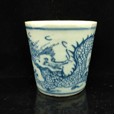 Chinese Blue and white porcelain Hand Painted Dragon pattern cup s-053