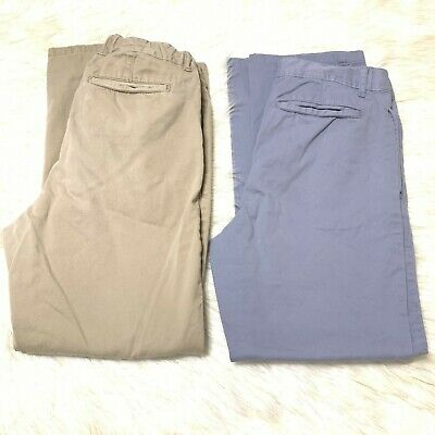 Lot of 2 Pairs of Boys Skinny Chinos Gray Beige Size 14H Husky