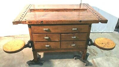 Awesome Industrial Dual Sided Workbench / Kitchen Island With 4 Swing Out Seats