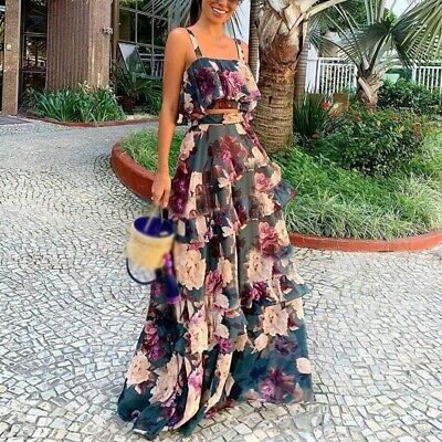 Floral Crop Top Maxi Skirt Dress SetWine Red Short Sleeve S M L CTP8312