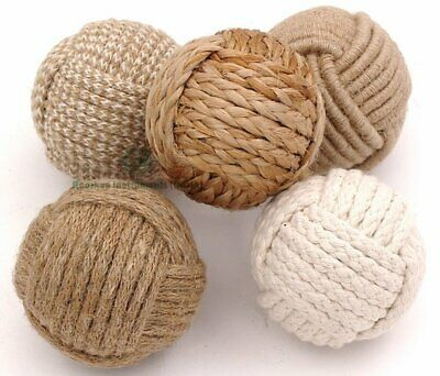 Set of 5 Decorative Rope Balls, Nautical Home Wares