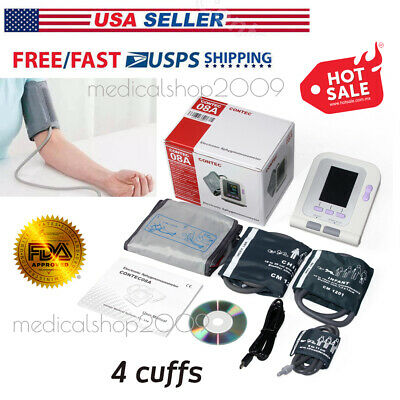 USA Stock,Digital Blood Pressure Monitor,CONTEC08A Color LCD Display free 4 cuff