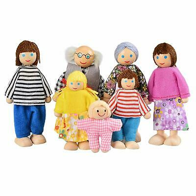 7Pc People Wooden Doll Family Figures Furniture Dolls House Miniature Kids Toys