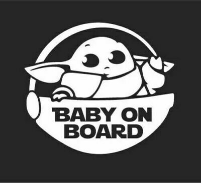 2 PC 5.5 inches Baby yoda on board jedi  Vinyl Stickers Decals Car