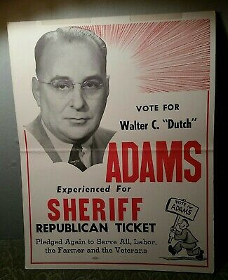 """Walter C. """"Dutch"""" Adams For Sheriff Poster Allen County Indiana New Haven 1950"""