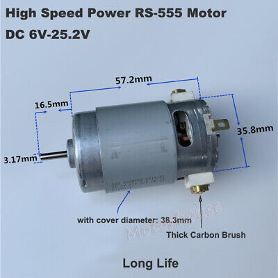 RS-555 Motor DC 6V 12V 14.4V 18V 24V Power Long Carbon Brush Double Ball Bearing
