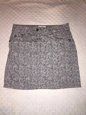Girls FAT FACE Grey Denim Floral Printed Skirt Age 12-13y EXC W:26 L:14.5 EXC