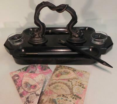 Antique Victorian Ink Stand.  Bronze Dolphins on Black Slate (W/F) (236)