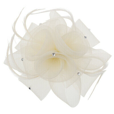 Bridal Flower Feather Hair Clip Fascinator Ladies Day Wedding Races Headpiece