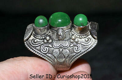 "1.8"" Old Chinese Dynasty Palace Silver inlay Green Jade Gem Jewelry ring Rings"