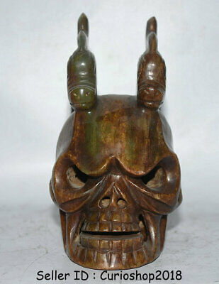 """6.8"""" Neolithic period """"Hong Shan"""" Culture Old Jade Hand Carved Dragon Skull Head"""
