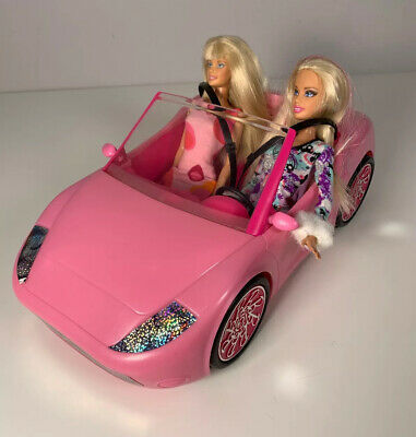Barbie Glam Convertible Car With 2x Dolls With Mattel Cloths & Shoes
