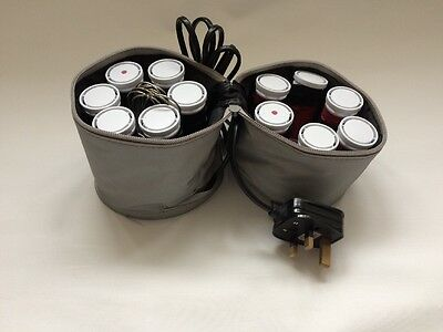 Heated  Travel Curlers Rollers With Compact Silver Bag Carry Case Nicky Clarke