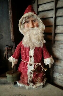Primitive Santa, Father Christmas ~ sculpted clay face ~ old red fabric
