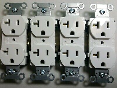 HUBBELL DUPLEX RECEPTACLE WHITE OUTLETS,  20A 125V Set of 4