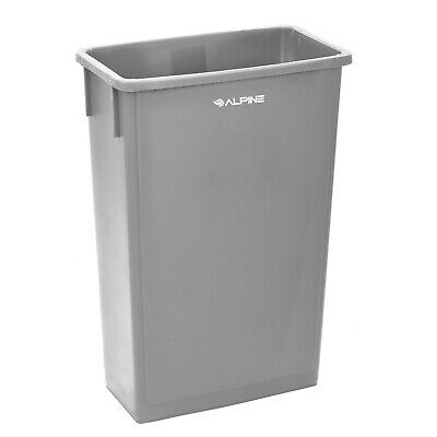Alpine Industries 23 Gallon Gray Slim Waste Basket Commercial Trash Can