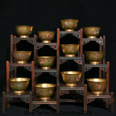 "3.2"" 12PCS Qianlong Dynasty China Qing Porcelain Gilt Flower Birds Bowl Cup Set"