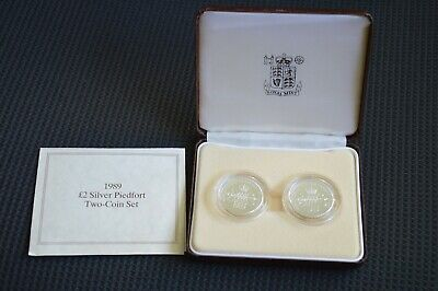 1989 Two Pound Silver Two-Coin Set.