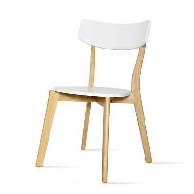 2x Artiss Dining Chairs Kitchen Chair Rubber Wood Cafe Retro White Wooden Seat