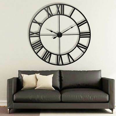 60CM Extra Large Roman Numerals Skeleton Wall Clock Big Giant Open Face Round UG
