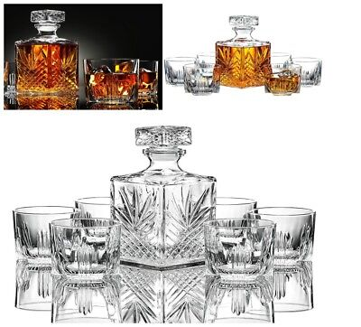 Whiskey Glasses Set of 7 Crystal Drinking Scotch Liquor Glass Bar Cups Decanter