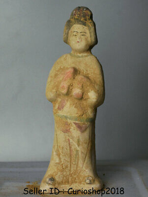 "8"" Ancient Chinese Han Painting Pottery Dynasty maid Woman Statue Sculpture"