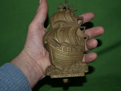 Large Antique Brass Door Knocker 16th Century Galleon Ship 16cm high