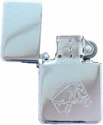 Emblems-Gifts Personalised Horse Head Silver Colour Star Petrol Lighter (T5)