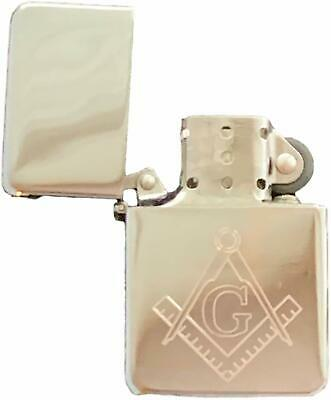 Emblems-Gifts Personalised Masonic Crest & G Silver Petrol Star Lighter (T7)