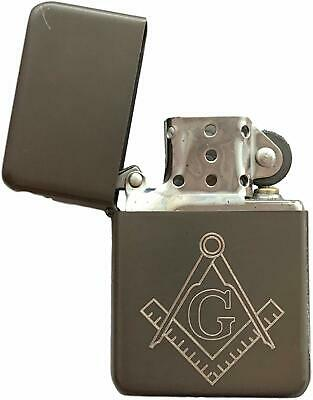 Emblems-Gifts Personalised Masonic Crest & G Metal Grey Petrol Star Lighter (T7)