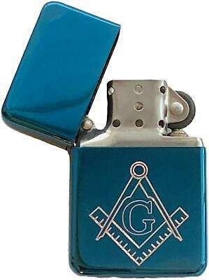 Emblems-Gifts Personalised Masonic Crest & G Blue Ice Petrol Star Lighter (T7)