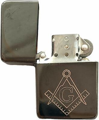 Emblems-Gifts Personalised Masonic Crest & G Black Ice Petrol Star Lighter (T7)