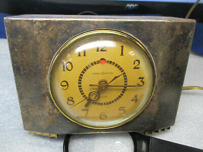 General Electric Art Deco Silver and Gold Alarm Clock Model 7H 166
