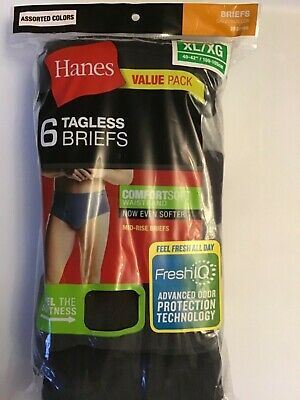 Men Briefs Hanes MID-RISE 6 Pair Colors comfort soft Tagless XL 40-42
