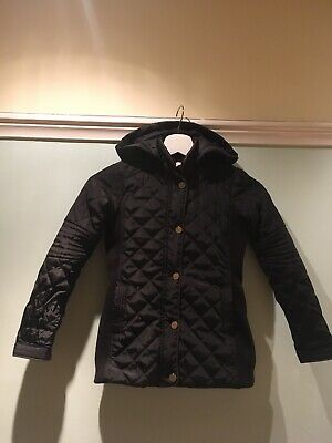 Girls Black Zara X Ci Sono Kids Quilted Winter Coat With Hood, Age 3-4