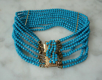 """Antique Victorian Style PERSIAN Turquoise Faceted Bead 9k GF Bracelet 7""""x1"""""""