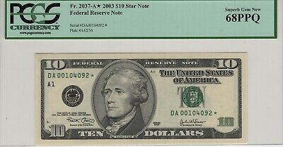2003 $10.00 Federal Reserve Star Note  Boston  Fr# 2037-A*  CH CU  New Notes In