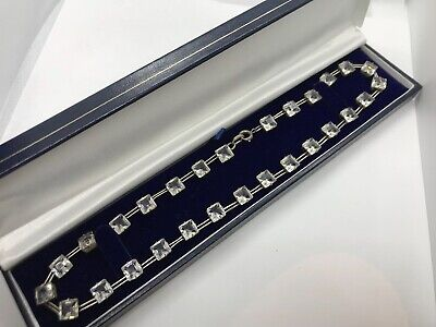 Beautiful Antique Art Deco Sterling Silver Clear Paste Riviere Choker Necklace