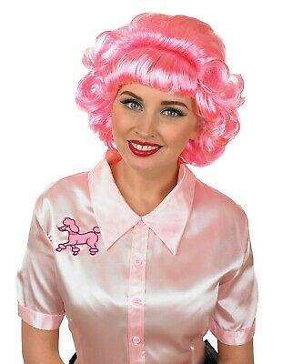 Frenchy Pink Wig Official Licensed Grease 50s Frenchie Womens Fancy Dress 1950s