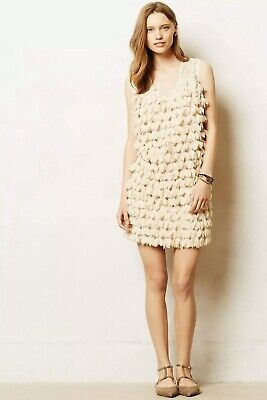 2 Taupe Color NW ANTHROPOLOGIE Tag Tiny Shimmered Lace Shift Dress Size 0