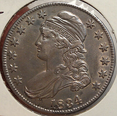 1834 Bust Half Dollar, Large Letters, Almost Uncirculated   1215-19