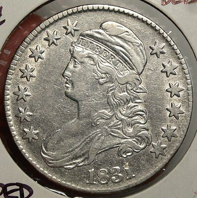 1831 Capped Bust Half Dollar, Almost Uncirculated, Discounted Type Coin 0913-01