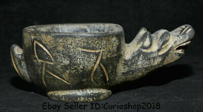 """6.8"""" Ancient Chinese Hongshan Culture period Old jade Dragon Head wineglass cup"""