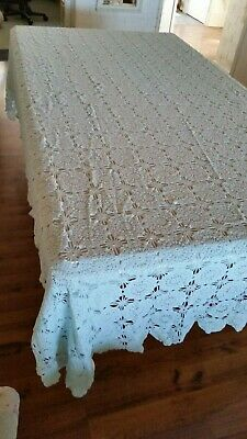 Crochet Hand Dyed Large Bed Spread/Table Cloth (007066) Ref 23 Blue