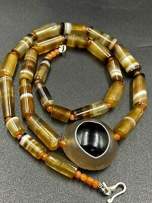 ancient lukmik natural agate beads NECKLACE
