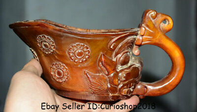 "7.6"" Qianlong Marked Old Chinese Qing Ox Horn Dynasty Handle Beast Drinking Cup"