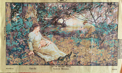 Vintage Needlepoint Embroidery Canvas Frederick McCubbin Wallaby Track 80 x 45cm