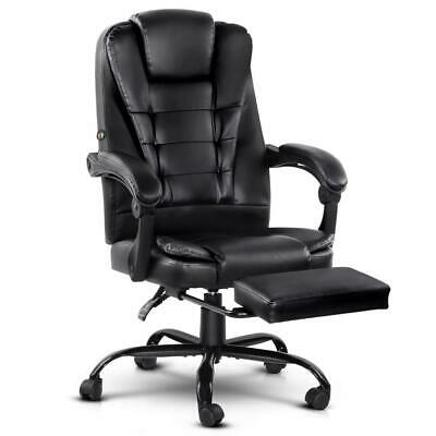 Artiss Electric Massage Office Chairs Recliner Computer Gaming Seat Footrest Bla
