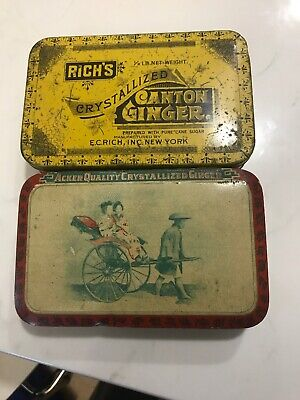 Pair of Early Vintage Crystallized Ginger Tins Acker Rich's Canton Philadelphia